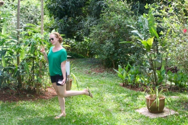 Ingeborg striking a green pose