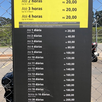 Prices for parking
