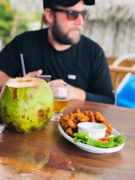 Coconut water and crispy shrimp - beach fare