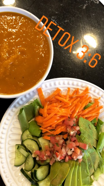 Day 3 Dinner pumpkin soup and salad