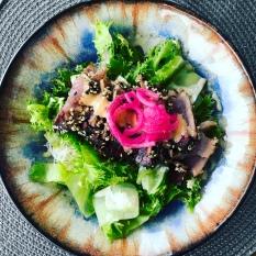 Seared sesame crusted tuna salad