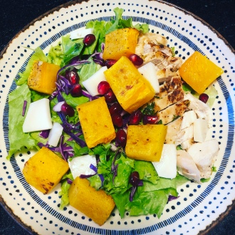 Roasted pumpkin salad with goat cheese and pomgranate